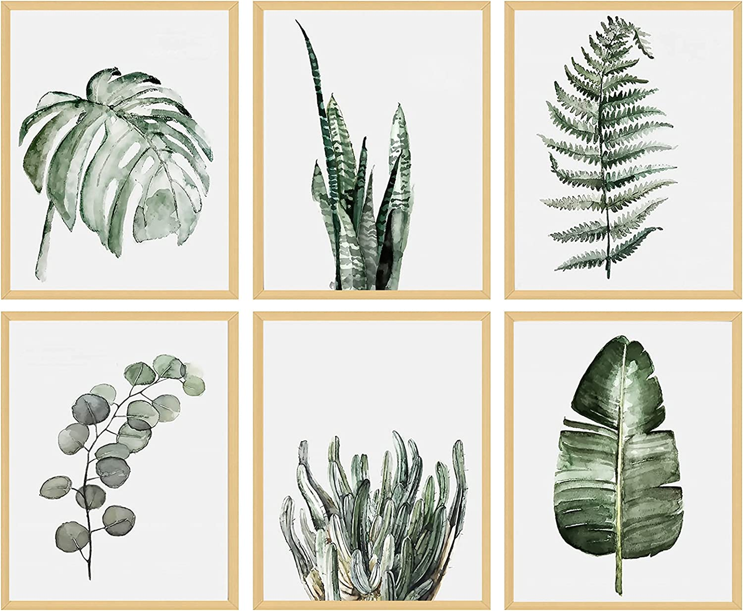 Green Leaf Picture Wall Art - Bathroom Kitchen Wall Decor Simple Life Tropical Plants Canvas Paintings Nature Palm Banana Monstera Botanical Prints Contemporary Minimalist Posters Unframed 8x10 inches