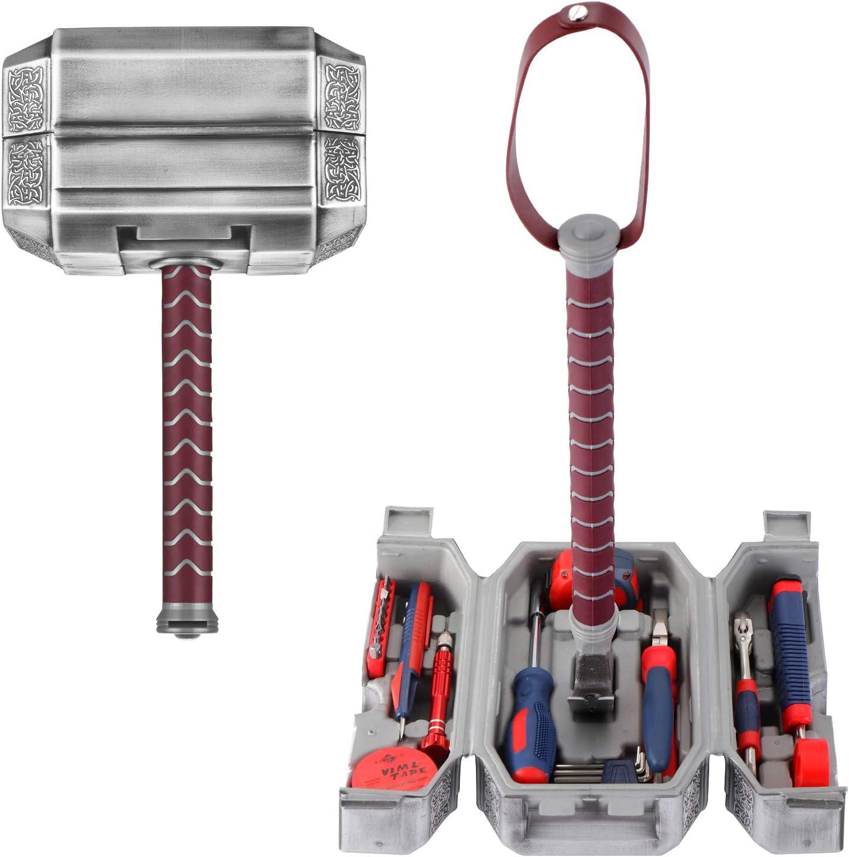 Buyton Avengers Thor Hammer Juego de herramientas de mano para el hogar, 28 piezas, martillo de combate Thor, duradero, herramientas de acabado cromado de larga duración con estuche de Thor Hammer: Amazon.es: