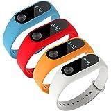 Yincol Smart Banda de Repuesto para Xiaomi Mi Band 2 + Protectores de Pantalla Wireless Pulsera Inteligente Correa de Recambio Extensibles Coloridos con 11 Colores Diferentes (4 Pack-3)