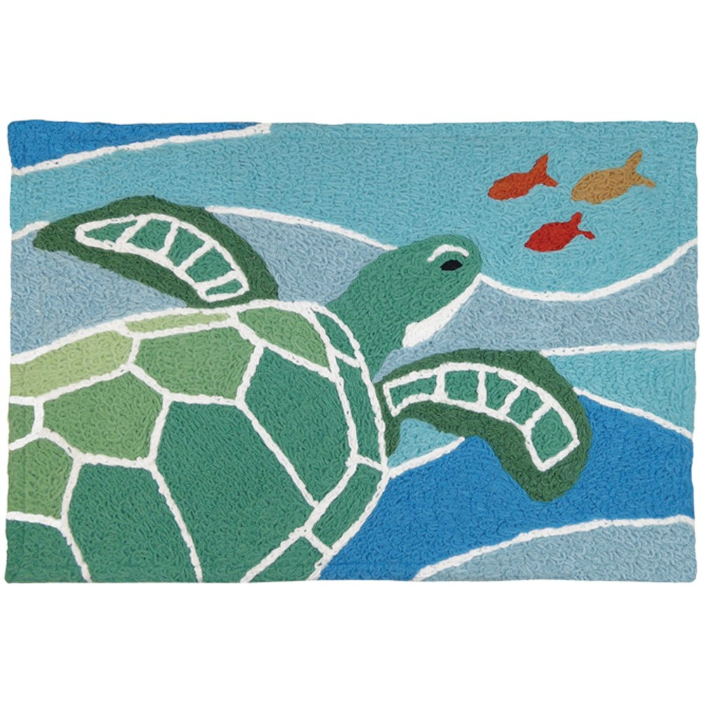 Jellybean Sea Turtle On Blue Waves Coastal Indoor/Outdoor Machine Washable 21'' x 33'' Accent Rug