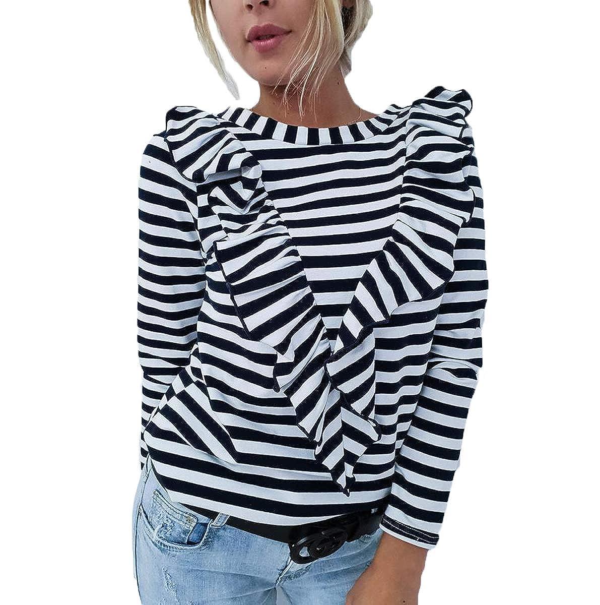 itifu Women Stripe Tees V-Shape Ruffle Round Neck Long Sleeve T-Shirt Tunic Blouse Top