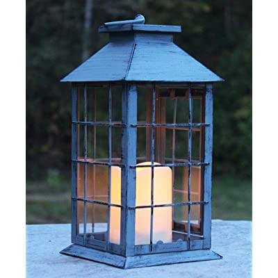 Seraphic Country Style Gray Rustic Metal Lantern with Flickering Flameless LED Candle