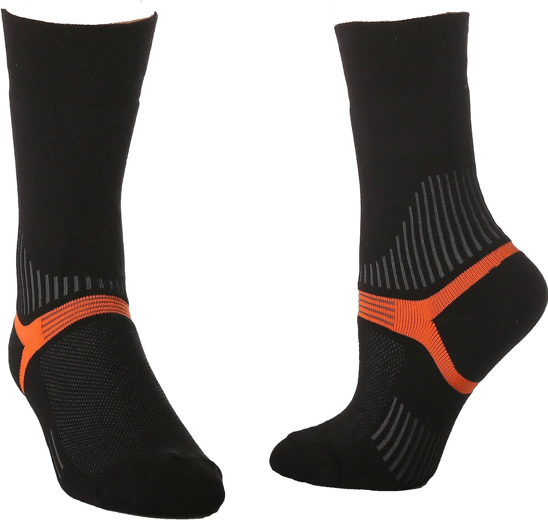 Black// w//Orange Y Heel Hiking Outdoor Sock Traverse Crew