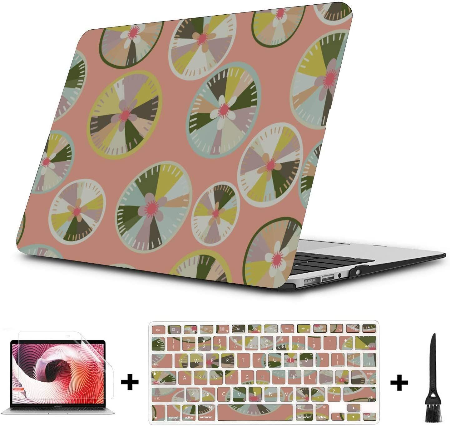 MacBook Pro Accessories Summer Fashion Flower Fruit Lemon Plastic Hard Shell Compatible Mac Air 11 Pro 13 15 Laptop Cover Protection for MacBook 2016-2019 Version
