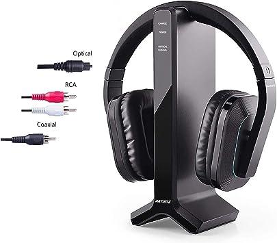 Audífonos estéreo inalámbricos para TV con transmisor RF de 2,4 GHz, soporte de carga de