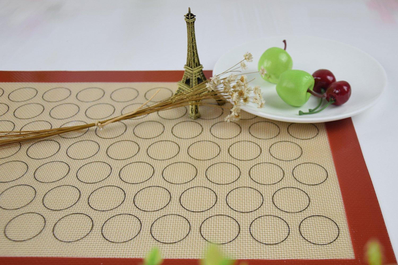homankit Tapis de cuisson en silicone anti-adh/ésif Rouge violac/é Bordure pour Macaron avec surface r/éutilisable jaune 40/x 60/cm
