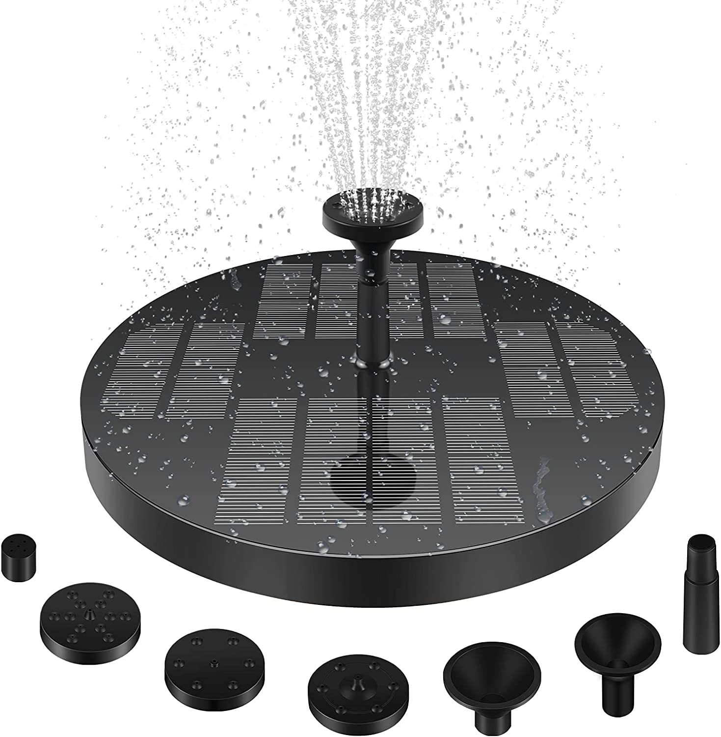 Solar Water Fountain Upgraded 3w Solar Water Pump with 4 Nozzles Solar Fountain Pump for Garden Decor, Bird Bath Pond Pool Fish Tank Patio Garden solar power heater Stable and Longer Working Time