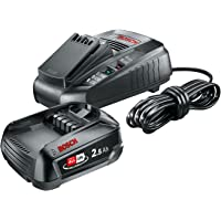 Bosch Lithium-Ion Battery and Charger Starter Set (1 Battery, 18 Volt, 2,5 Ah)