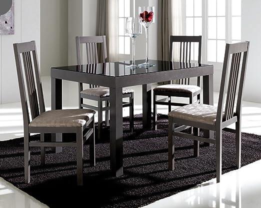 Mesa de comedor extensible 120 - 180 cm), color fresno ceniza y ...