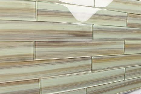 Sublime Beige Taupe Brown Handcrafted Glass Tile for Kitchen Backsplash or  Bathroom, 3x12 (10 Sq Ft Box)