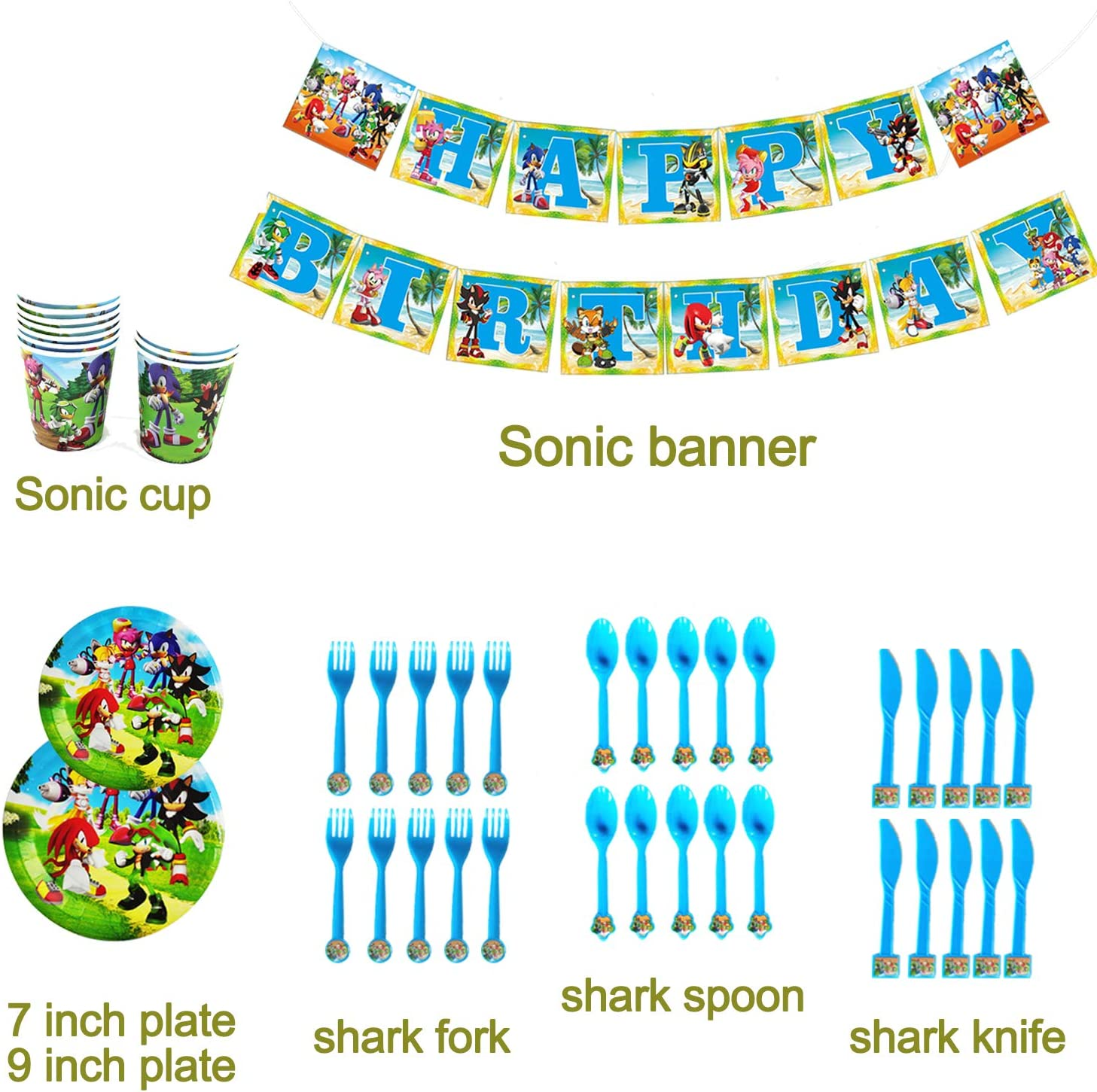 Tablecloth Birthday Party Favor Pack Set for Kids Boy Straws Balloon Plates Spoons Cake Toppers Flatware Table Covers Cups Banner Knife Fork 149Pcs Sonic The Hedgehog Party Favor Party Decorations Birthday Party Supplies Napkins
