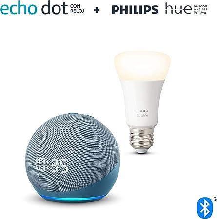 Nuevo Echo Dot (4.ª generación) con reloj, Azul grisáceo + Philips Hue Bombilla Inteligente (E27), compatible con Alexa