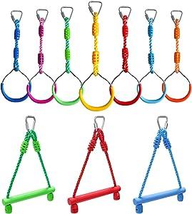 Rainbow Craft Ninja Obstacle Bundle for 7-Pack Ninja Rings & Ninja Bars - Gym Rings, Monkey Bars