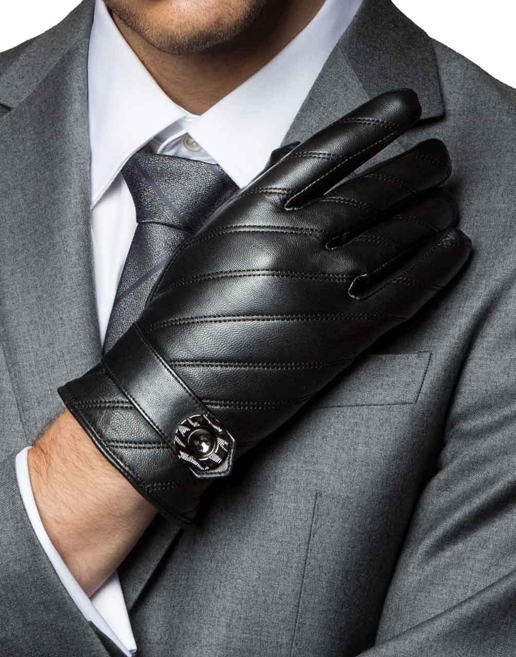 YISEVEN Men's Touchscreen Lambskin Leather Gloves Fleece Lined Diagonal Stripe and Button Belt Luxury Stylish for Winter Hand Warm Fur Lined and Motorcycle Driving Christmas Xmas Gift, Black 11''/XXXL by YISEVEN (Image #3)