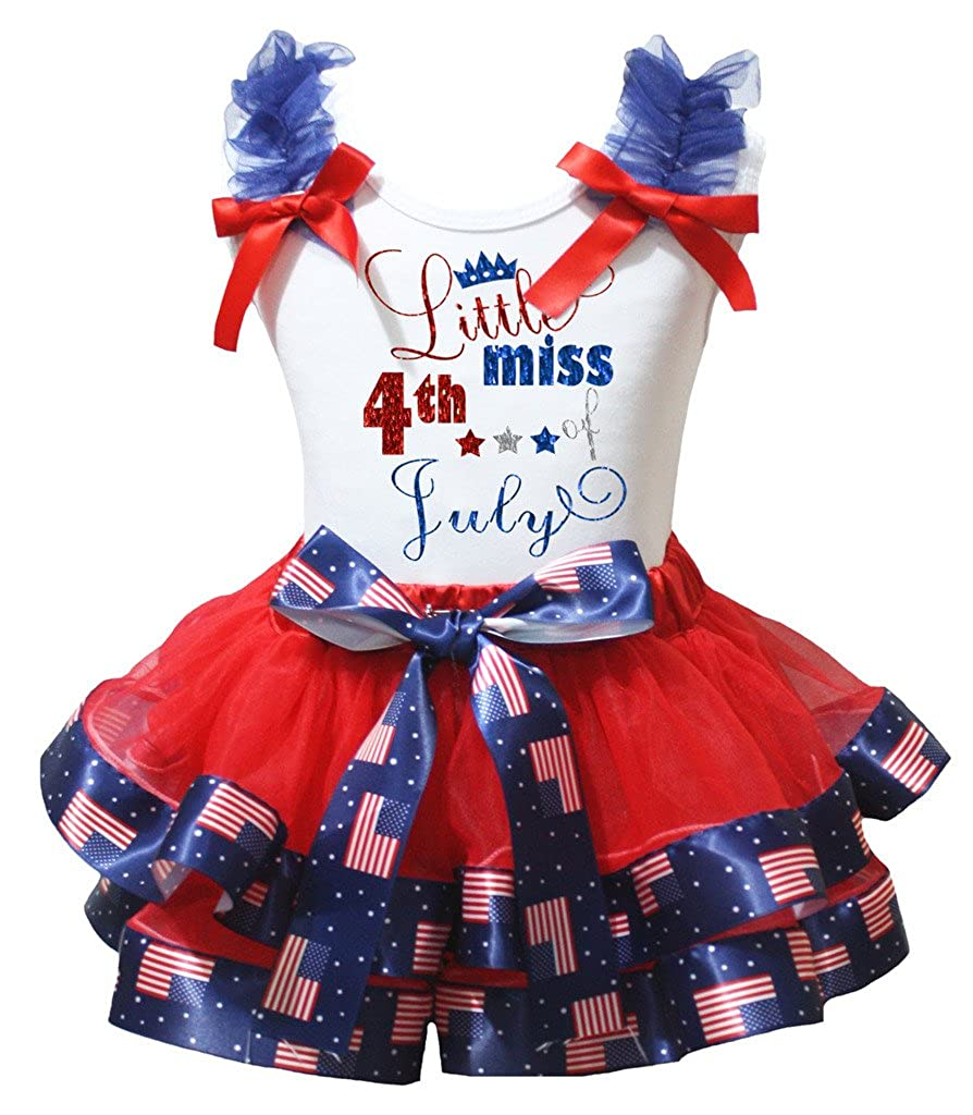 Petitebella Little Miss 4th of July White Shirt Petal Skirt Set Nb-8y