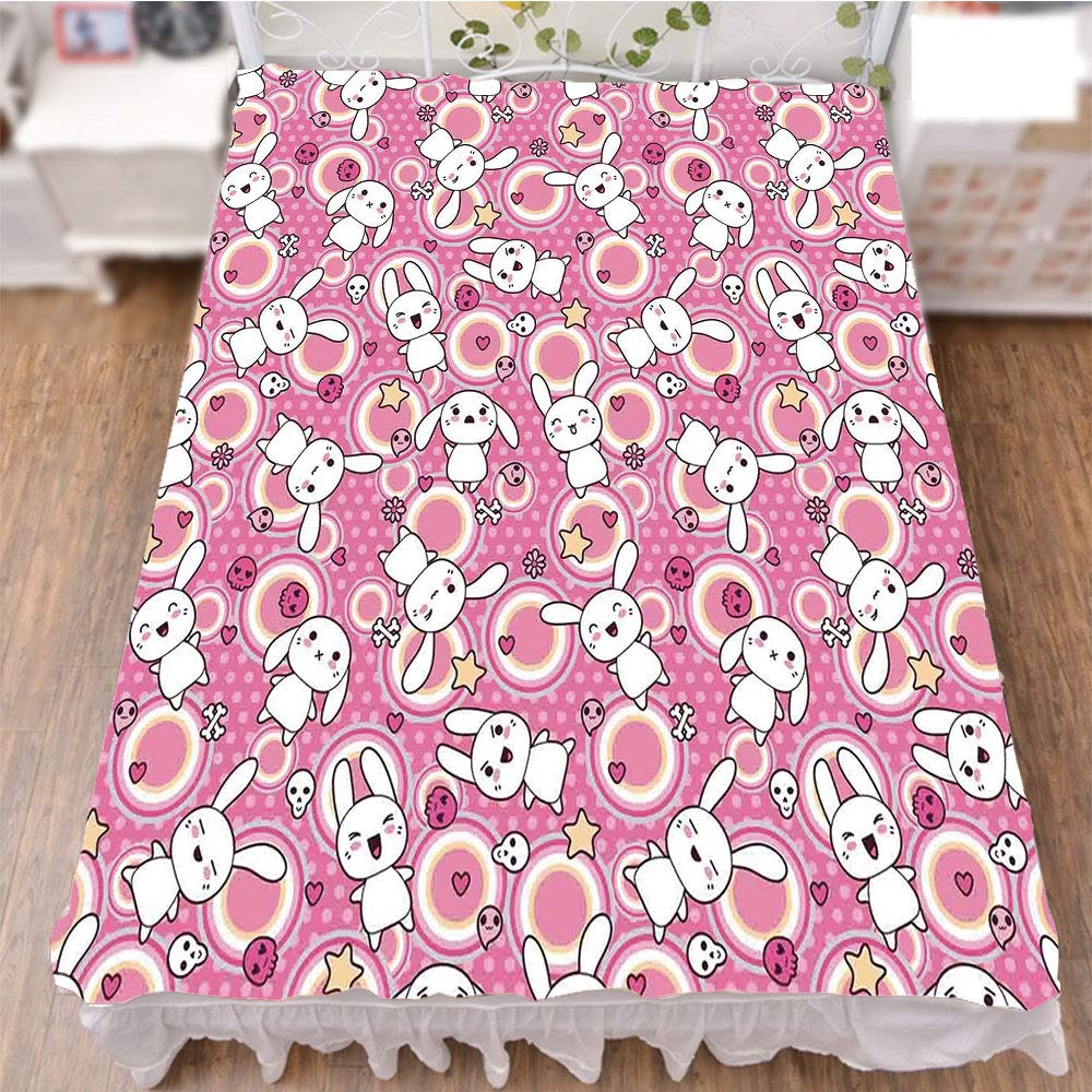 iPrint Bedding Bed Ruffle Skirt 3D Print,Rabbits Funky Cute Animals Bunnies Kids Humor,Best Modern Style Bed Skirt for Men and Women by 70.9''x78.7''