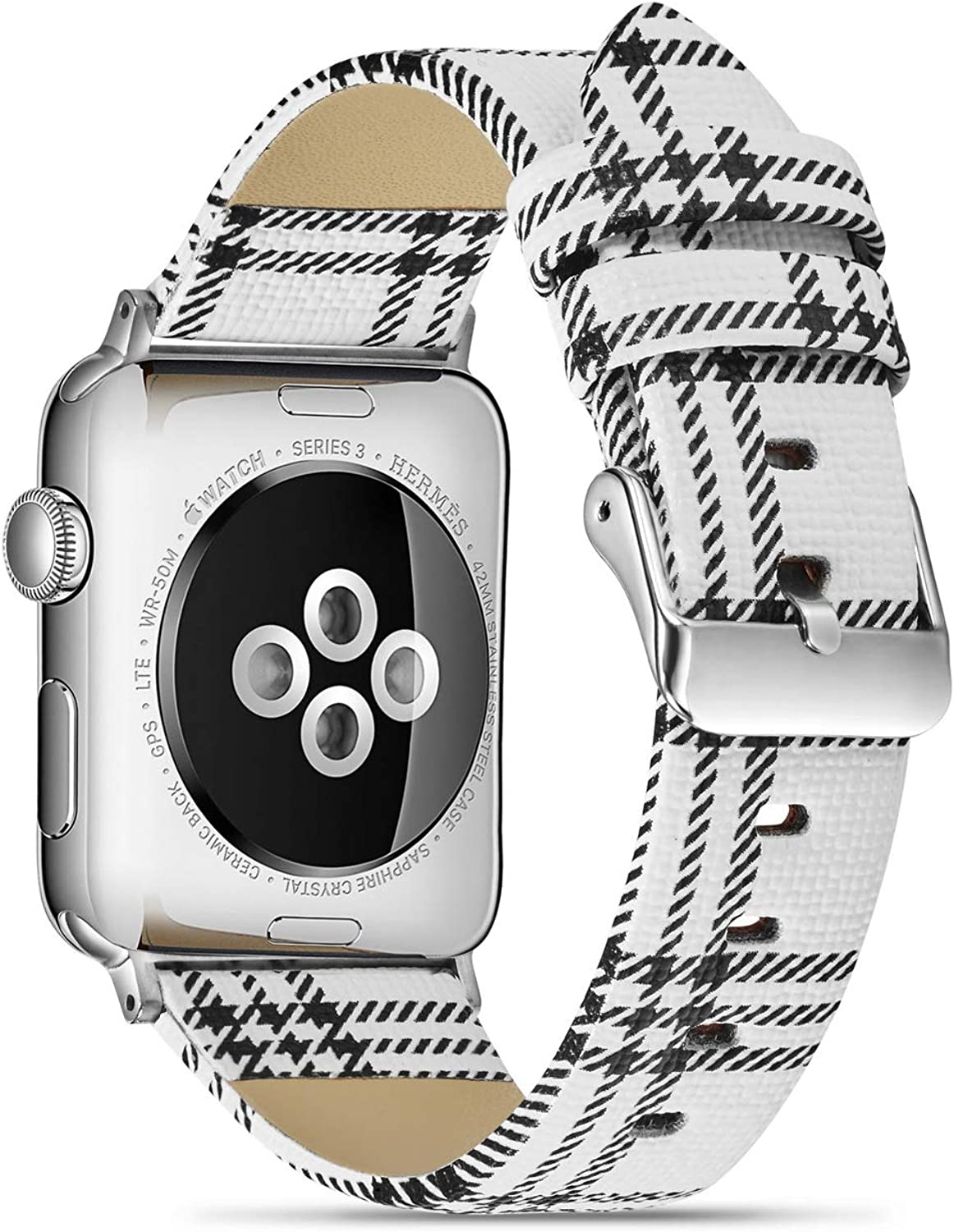 MeShow 44mm 42mm Plaid Tartan Style Replacement Strap Watch Band Wrist Band with Silver Metal Adapter Compatible for Apple Watch Series SE/6/5/4/3/2/1 (P)(Not for iwatch 38mm/40mm)