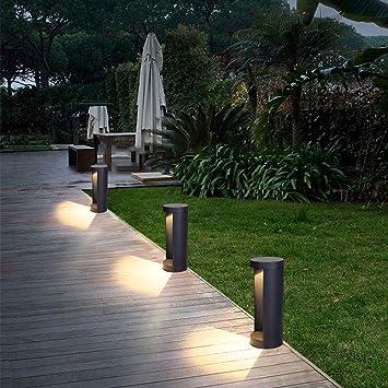 Ruta Moderna Luces LED 15W IP44 A Prueba Agua Del Jardín Lámpara Pedestal Luces Cálidas Columna 3000K Luz Lámpara Al Aire Libre Negro Lámpara Aluminio Lámpara Balcón Patio Valla Césped Φ15.5CM*H40cm: Amazon.es:
