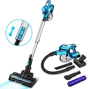 Cordless Vacuum Cleaner, 23Kpa 250W Brushless Motor Stick Vacume, Up to 40 Mins Runtime 2500mAh Rechargeable Battery, 5-in-1 Lightweight Handheld for Carpet Hard Floor Car Pet Hair, Blue-INSE S6