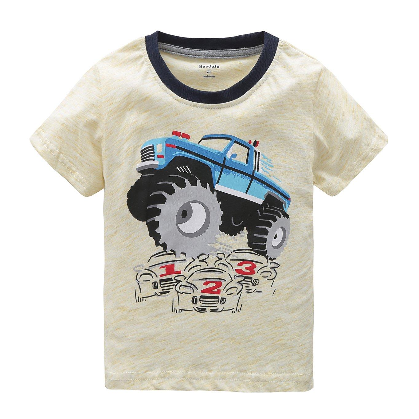 Boys Short Sleeve Cotton T-Shirt Monster Truck Summer Graphic Tees Beige 4T