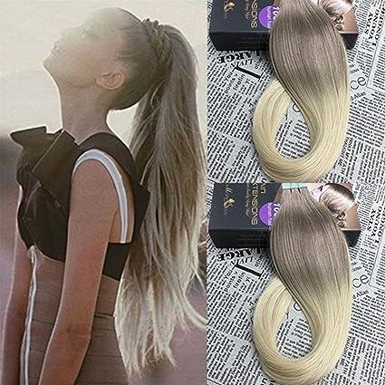 Moresoo Dip Dyed Extensiones Adhesivas Remy Cabello 16Pulgadas Ceniza Marron a Blanqueador Rubia Pelo Recto de