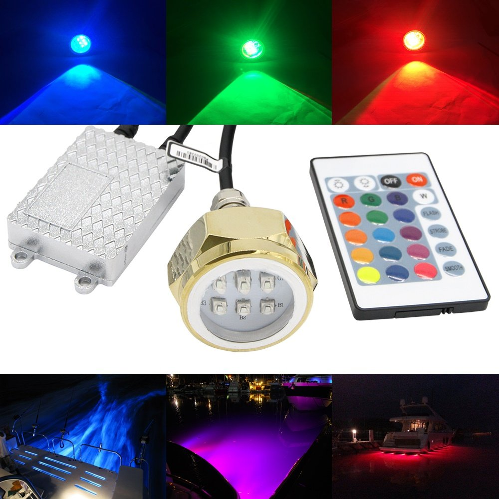 NSLUMO RGB Led Drain Plug Light Underwater RGB Color Changing Cree Chip 9X3W 27W 1/2'' NPT Drain Plug Lighting IR Control RGB LED Marine Boat Light by NSLUMO