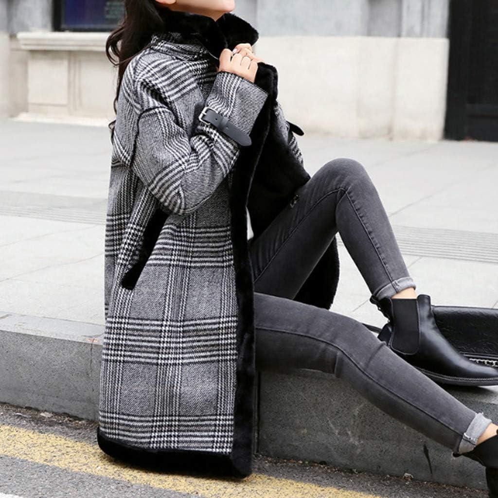 Veste Polaire Femme Chaude,l'hiver Chaud Tranchée Longue Manteau Outwear Revers La Laine Veste Pardessus Grande Taille Blouson Femme Hiver Chic Manteau Femme Hiver Elegant Gris