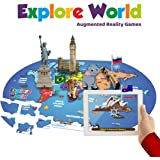 PLAYAUTOMA Explore Worlds Fun Educational, Jigsaw World Map Floor Puzzle, Interactive Augmented Reality Learning Games for Kids 6-99 Years