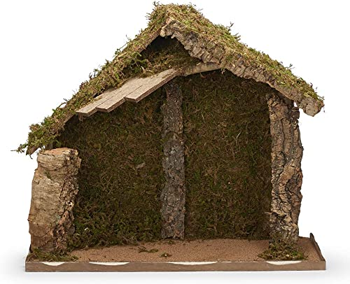 Fontanini, Italian Stable, 21 H, Wood Moss bark, 12 Scale, Collection, Handmade in Italy, Designed and Manufactured in Tuscany, Polymer, Hand Painted, Italian, Detailed