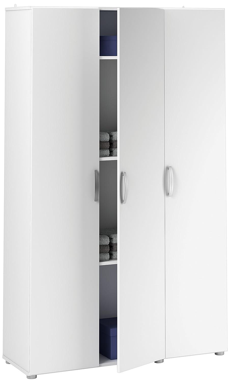 Demeyere Cobi Mehrzweckschrank 3-türig, Spanplatte, Weiß,, 101.4 x 34 x 175 cm