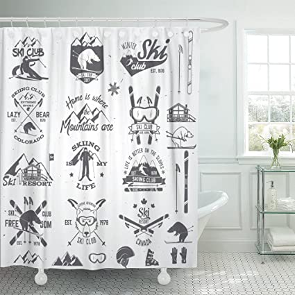 Emvency Shower Curtain Vintage Ski Club Design Retro Badge For Seal Stamp Stock Family Vacation Activity