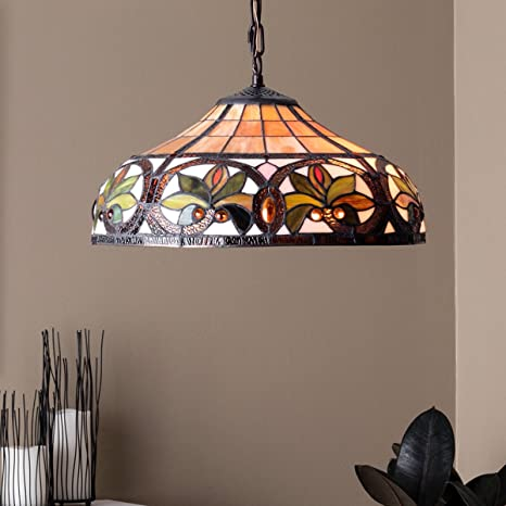 Tiffany Style Chandelier Lighting 2 Light Pendant Hanging Lamp Colorful Glass Victorian Ceiling Fixture H