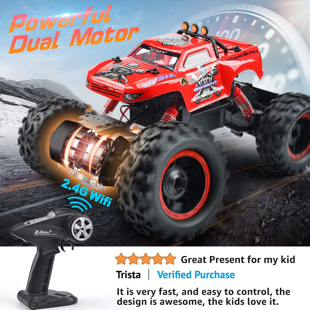 Remote Control Trucks Monster RC Car 1: 12 Scale Off Road Vehicle 2.4Ghz Radio Remote Control Car 4WD High Speed Racing All Terrain Climbing Car Toys Car Gift for Boys (Red) by NQD (Image #5)