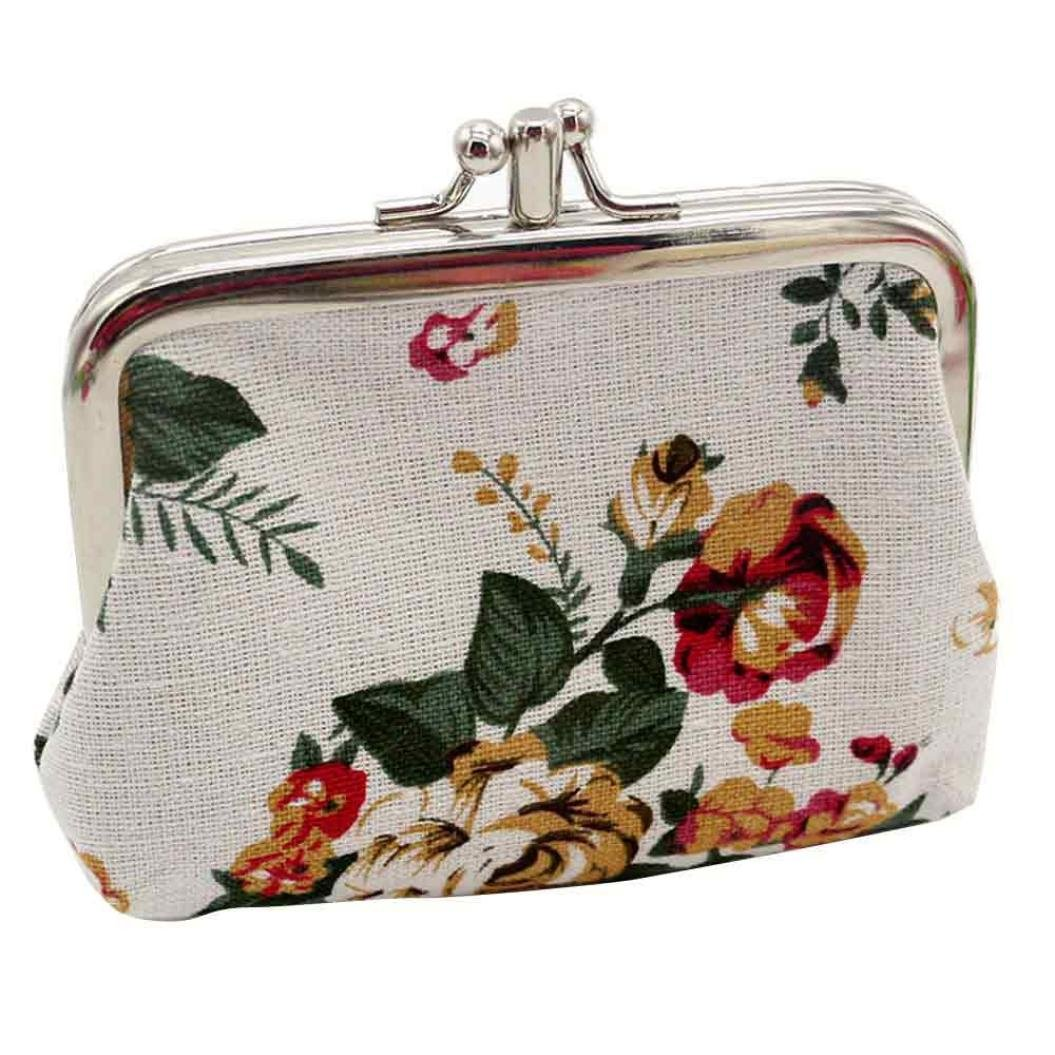 Nevera omen Lady Retro Vintage Flower Small Wallet Hasp Purse Clutch Bag (A-White)