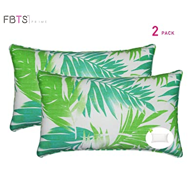 FBTS Prime Outdoor Accent Pillows with Insert Green Leaf 2 Packs Patio Decorative Throw Pillow Covers 20x12 Inch Square Patio Cushions for Couch Bed Sofa Patio Furniture : Garden & Outdoor