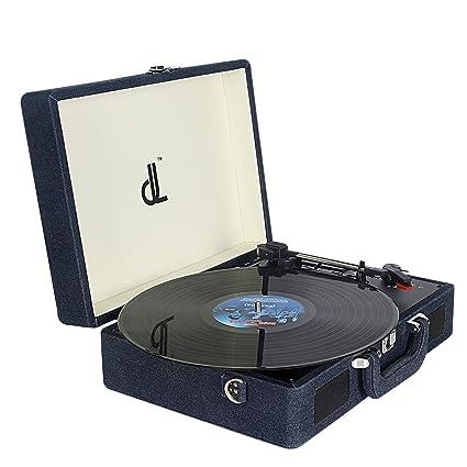 Tocadiscos, Record Player Giradiscos de Vinilo de 3 Velocidades DLITIME 2 Altavoces Bluetooth Incorporados Portátiles, con Entrada Auxiliar/Conector ...