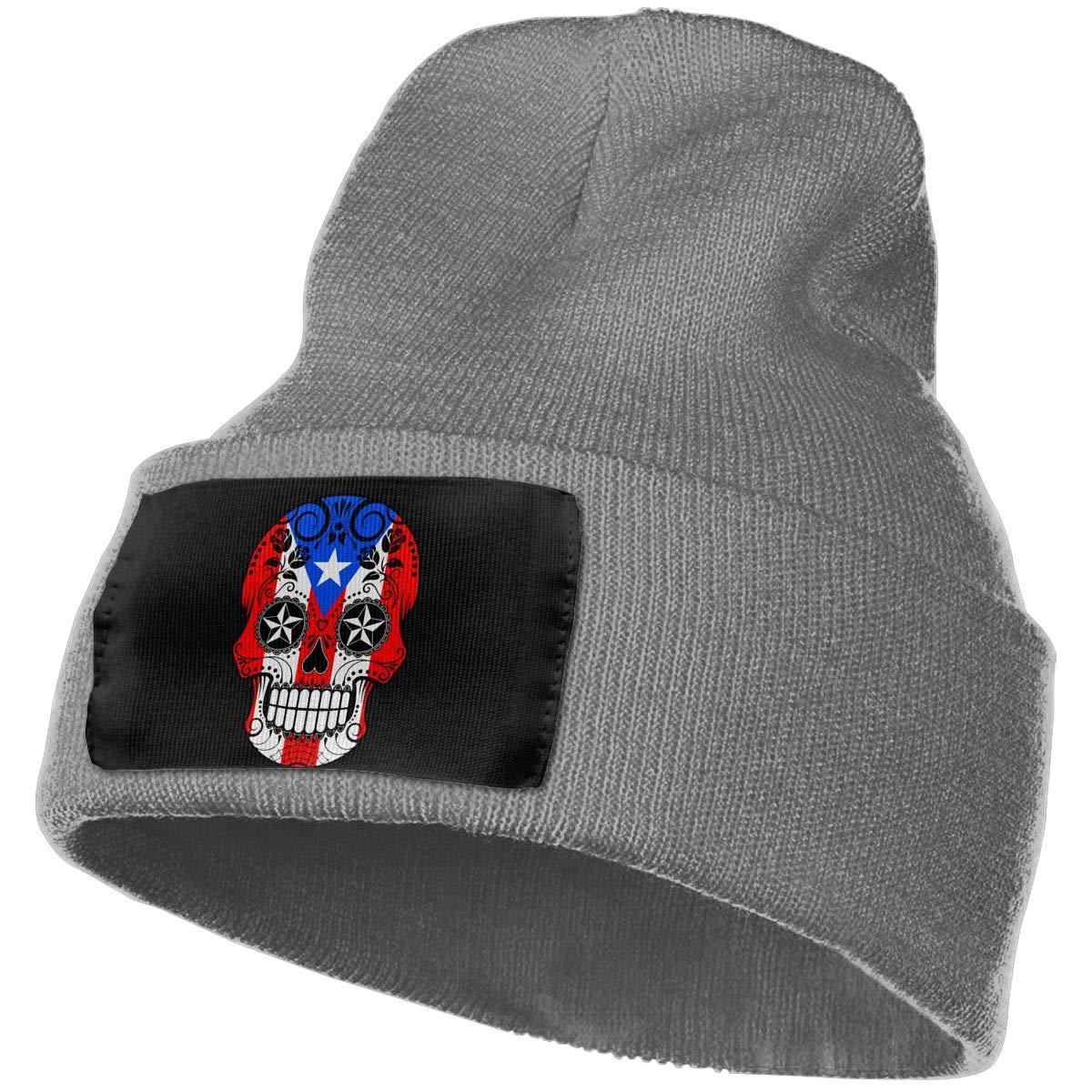 Mens and Womens 100/% Acrylic Knitting Hat Cap Sugar Skull with Roses and Flag of Puerto Rico Original Skull Cap