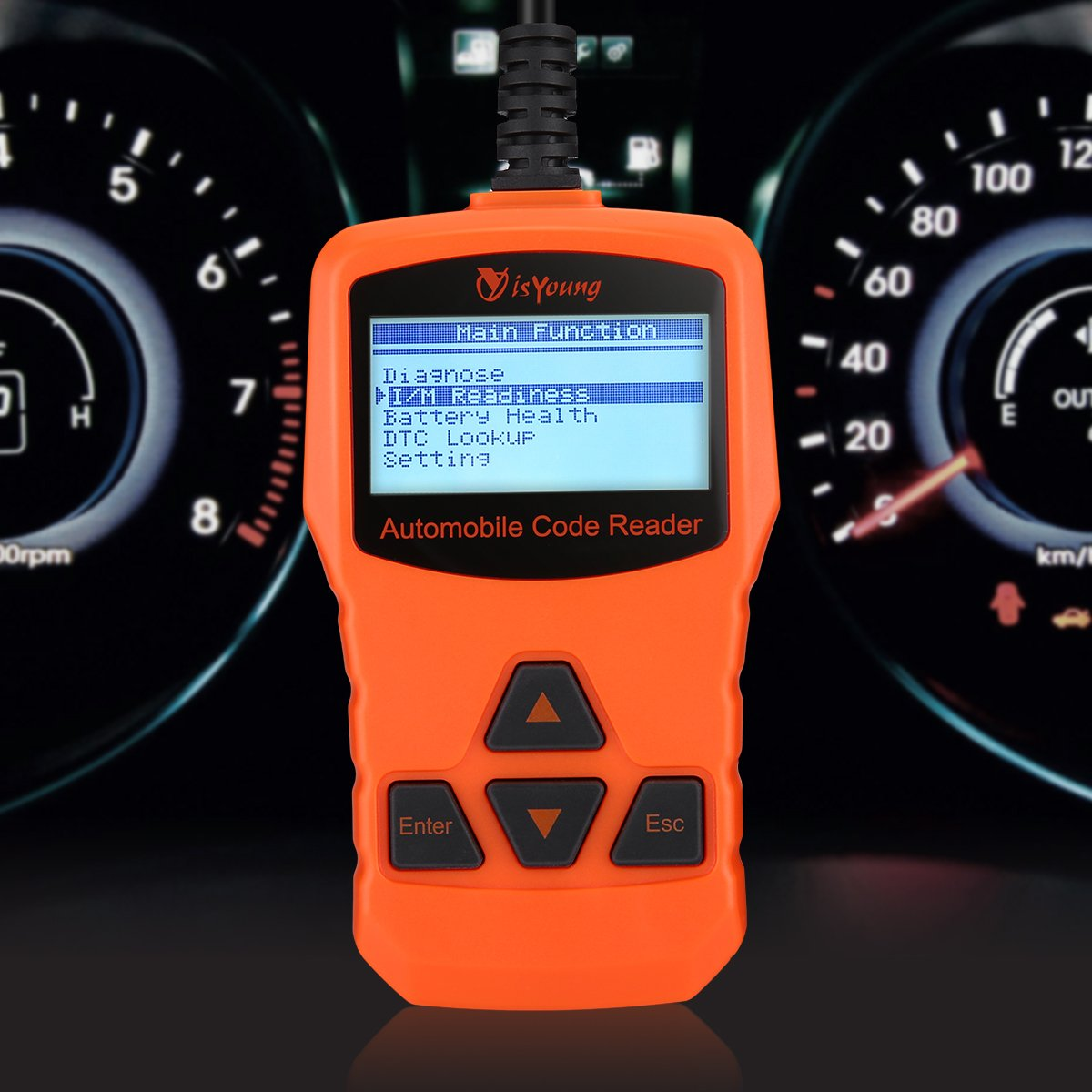 isYoung Vehicle Scan Tool OBD/EOBD CAN Diagnostic Tool 10 Modes OBDII Test + Quick Battery Health Check Engine Scanner for AUDI/VW/SKODA/BENZ/BMW/PORSCHE/GM & Other Car/SUV/Light Duty Vehicle(Orange)
