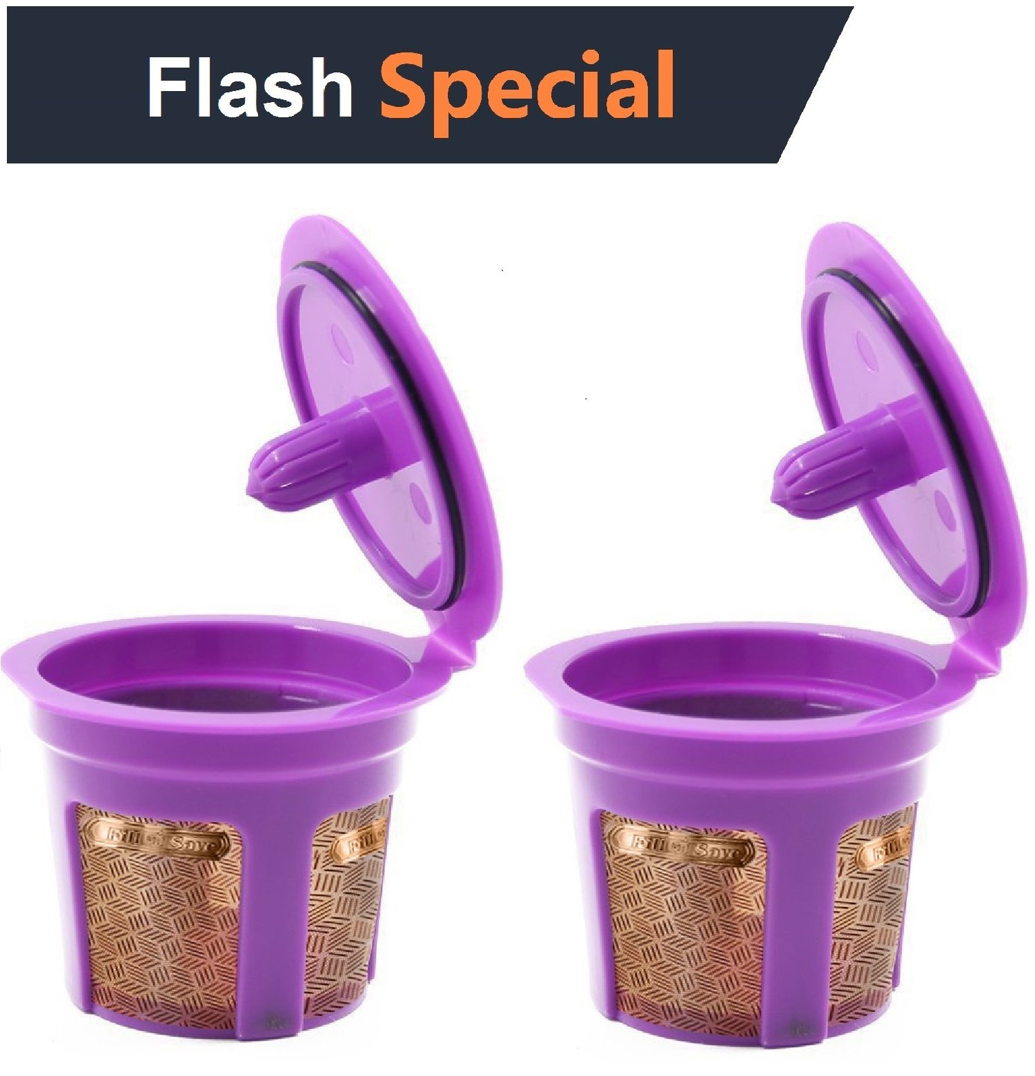 Fill N Save 2 Pack Reusable K Cups 24 K Gold plated Refillable Keurig Filter for Keurig 2.0 and 1.0 Coffee Machines. Excellent Filter Replacement to Coffee Pods and Accessories.