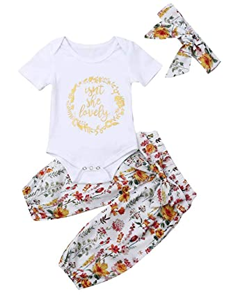 c55cb5b96 Newborn Isnt She Lovely Baby Girl Outfit Short Sleeve Romper Floral Pants  Headband Clothes Set (