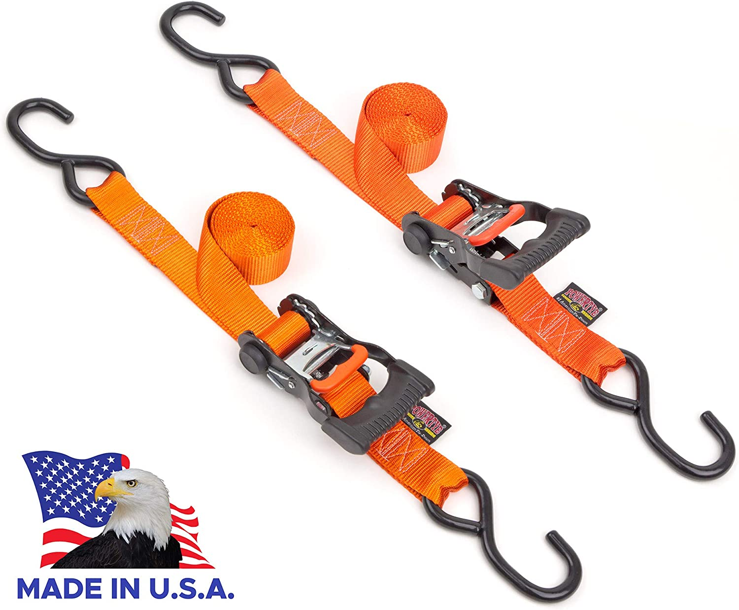 Powertye 1½in x 7ft Ergonomic Locking Ratchet Tie-Downs Made in USA with Heavy-Duty S-Hooks, Orange (Pair)