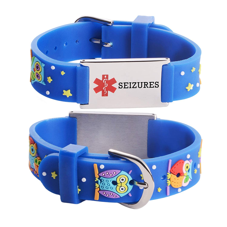 linnalove-Cartoon Medical id Bracelet for boy /& Girl,Kids-Pre-Engraving Type 1 Diabetes