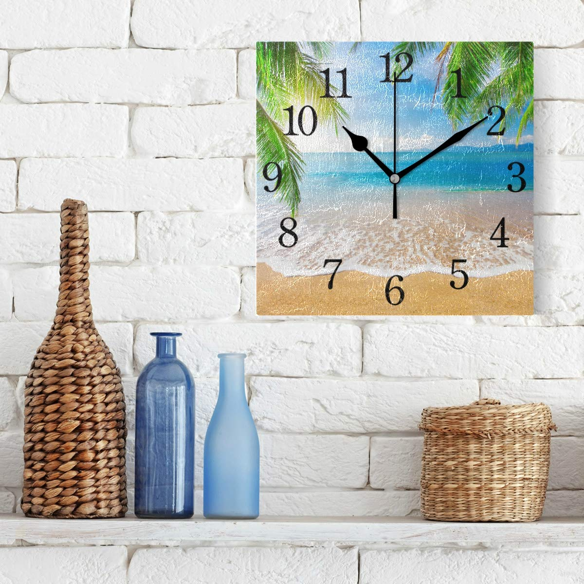 TFONE Tropical Ocean Sea Beach Wall Clock Square Silent Non Ticking Battery Operated Clock for Home Kitchen Bedroom Bathroom Living Room Office Decorative
