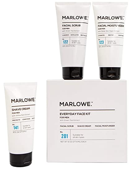 MARLOWE. No. 201 Everyday Face Kit for Men | Men Facial Care Starter Set | Daily Face Scrub, Moisturizer, Shave Cream | Exfoliating Wash, Lotion, Shave Pack with Green Tea Extract | Great Gift best men's skincare sets