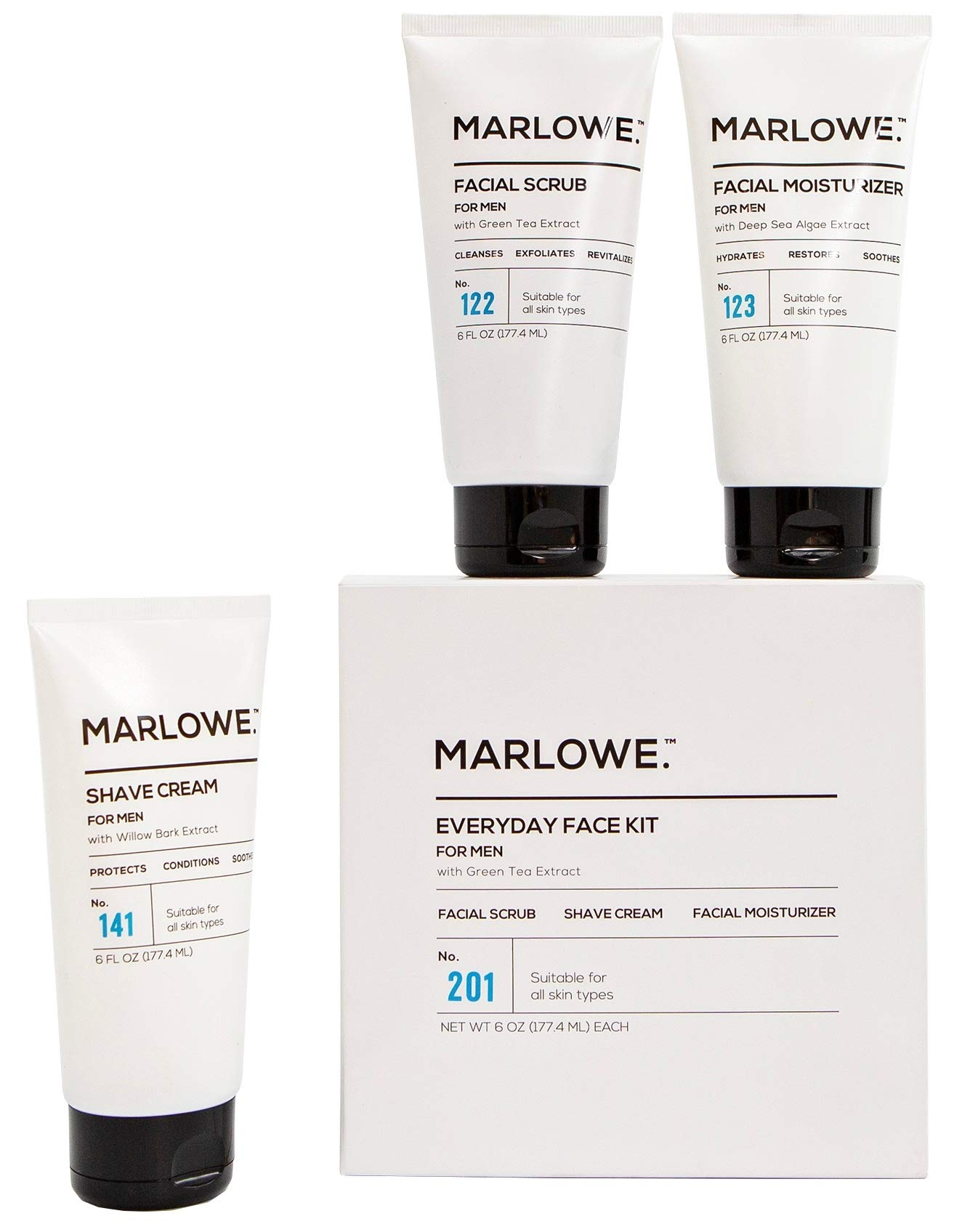 MARLOWE. No. 201 Everyday Face Kit for Men | Men's Skincare Gift Starter Set | Daily Face Scrub, Moisturizer, Shave Cream | Exfoliating Wash, Lotion, Shave Pack with Green Tea Extract | Great Gift