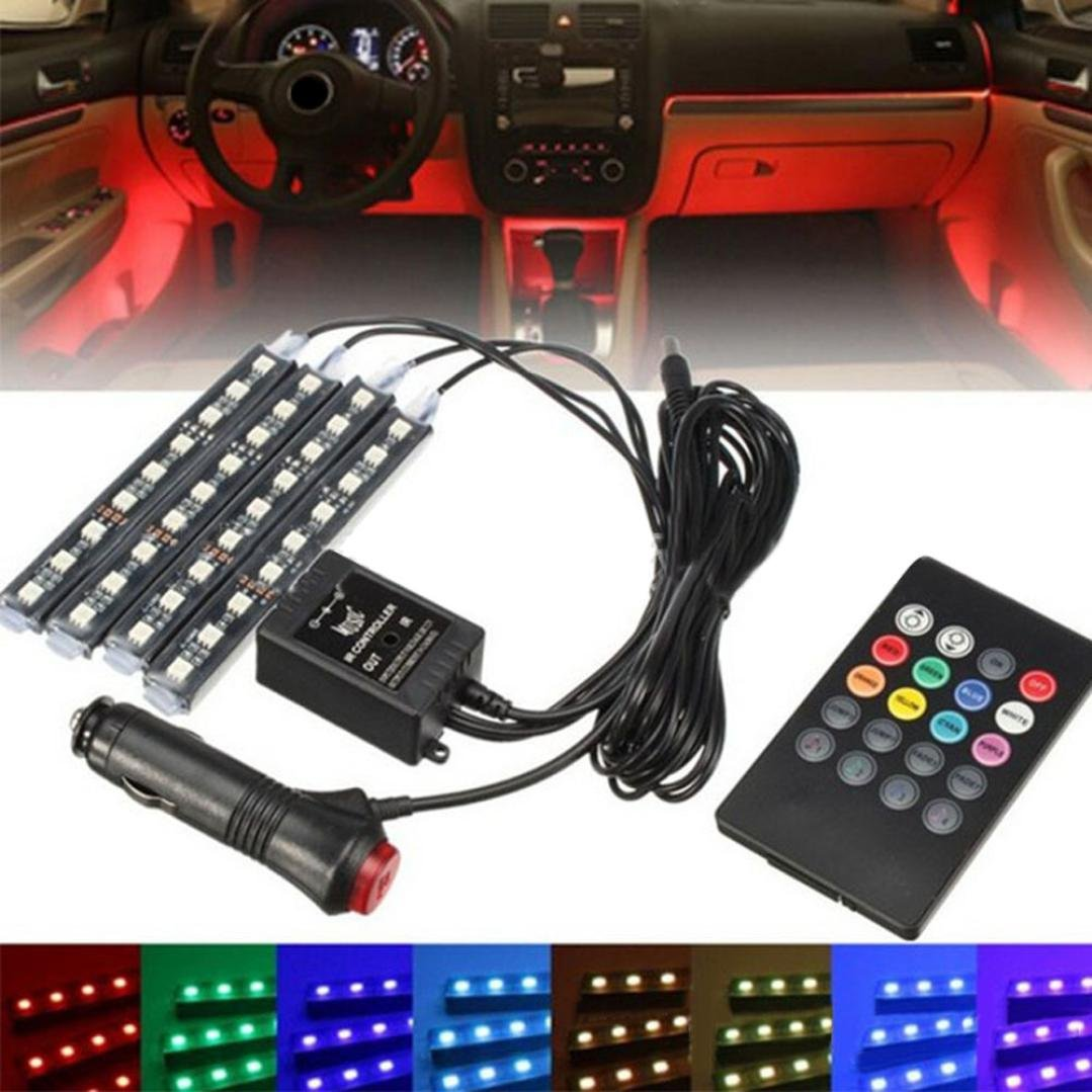 Quaanti Car Ambient Light,12 V LED Car Charge Colorful Interior Floor Decorative Atmosphere Lamp Light Car-Styling Car Accessories for All Universal Cars Colorful