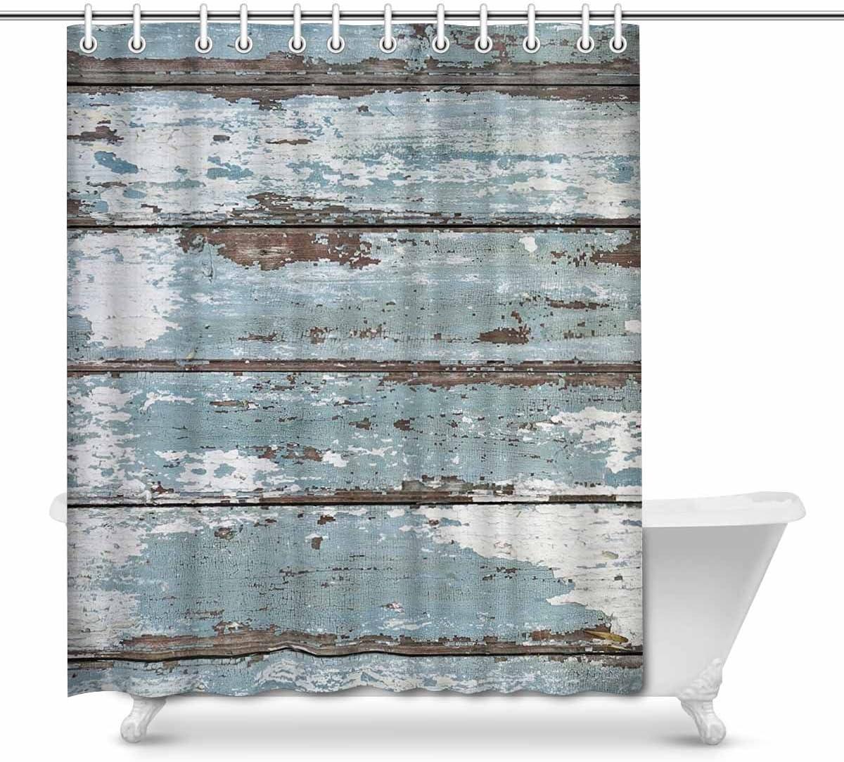 """Rustic Vintage old Blue Wood Shower Curtain Liner Bathroom Waterproof Fabric 72/"""""""