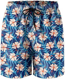 Tropical Ginger Embroidery Floral Mens Quick Dry Beach Shorts Drawstring