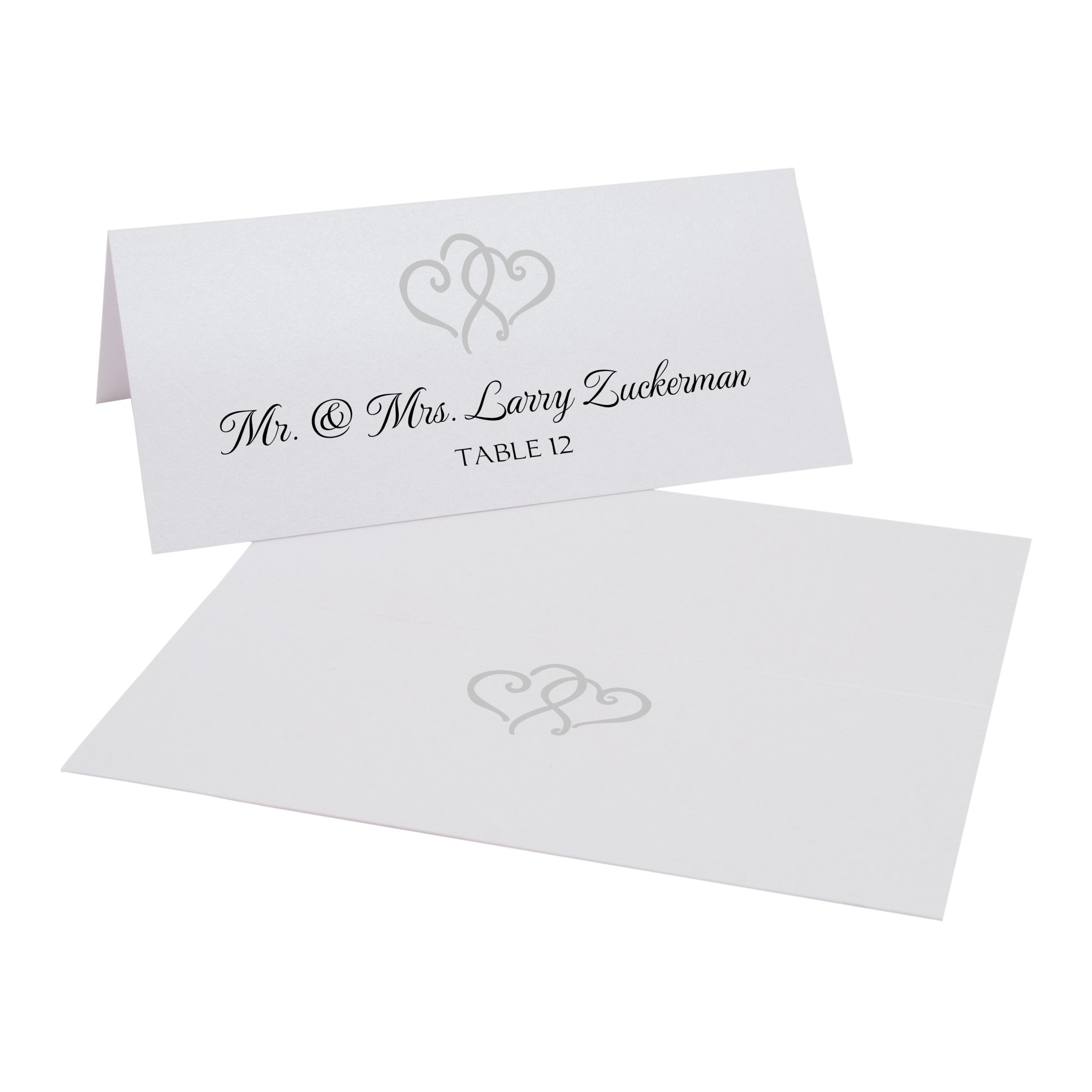Linked Hearts Place Cards, Pearl White, Silver, Set of 375