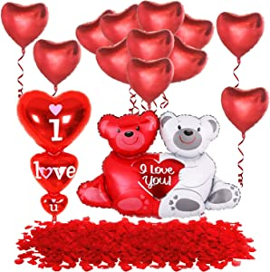 Love Balloons And Teddy Bear Balloons Set - 1000 Red Rose Petals | Teddy Bear Balloon Foil Valentine's Day | Valentines Decorations With Love Mylar Heart Balloons | Valentine's Day Balloons Decor
